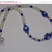 33%OFF Red White and Blue Floral Lampwork Necklace