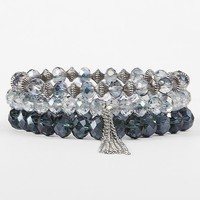 Women's Rondelle Bead Bracelet Set in Blue/White by Daytrip.