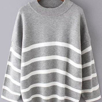 Grey White Striped Long Sleeve Sweater