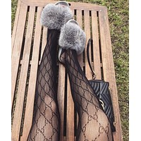 GUCCI Sexy Popular Women GG Letter Mesh Skin Tight Club Socks I13342-2
