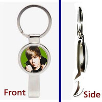 Justin Bieber Pennant or Keychain silver tone secret bottle opener