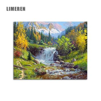 Oil Painting By Numbers DIY Picture Waterfall Drawing On Canvas Oil Coloring By Hand Landscape Kits Drawing Modern Wall Art
