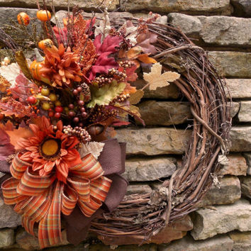 Sunflower wreath, fall wreaths, Sunflower wreaths, Fall Harvest, Autumn sunflower, Grapevine wreath, Pumpkin, Sunflower fall wreath