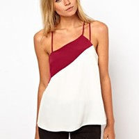 ASOS Cami In Colourblock With Asymmetric Straps at asos.com