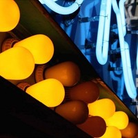 yellow bulbs blue neon abstract neon sign detail 5x7 pop photograph