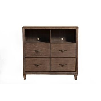 4 Drawer TV Media Chest With 2 Open Shelf In Brown