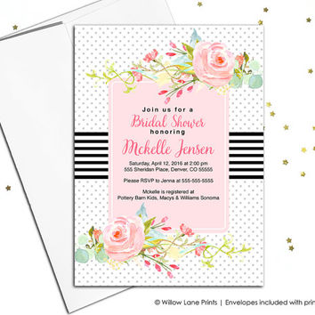 Rustic Bridal Shower invitation printable, Summer bridal shower invites Spring Bridal Shower invitation wedding Shower invitation - WLP00686