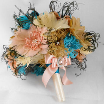 Wedding Bouquet, Bridal Bouquet, Feather Bouquet, Brooch Bouquet, Gold, Ivory, Teal, Peach, Rhinestone, Pearl, Art Deco Bouquet