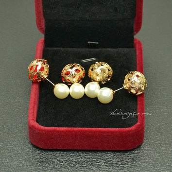 Ear Jacket - Front to back pearl hollowed-out ball earring jacket with red rhinestone - Christmas Gift ,Gift for her,Christmas decor