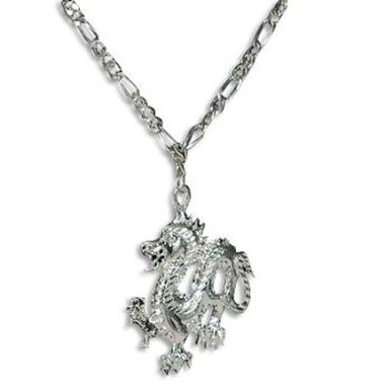 SilverTone Fire Breathing Dragon Pendant on Figaro Neck Chain