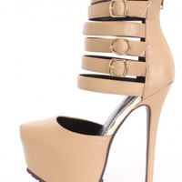Camel Strappy Platform High Heels Faux Leather
