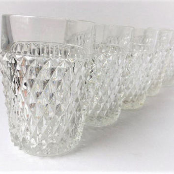 Clear Glass Diamond Point Tumblers Set of 7, Indiana Glass Diamond Point Glasses, Rocks Glasses, Lowball Tumblers, Retro Mid Century Barware