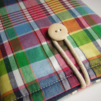 Nook Simple Touch case, Nook Color case, cases for nooks,  nook tablet case, nook sleeves, nook covers, Madras Plaid