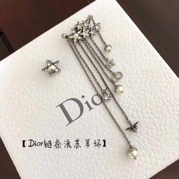 Dior asymmetric Earring 2018 Trending S925 Sterling Silver Double C full drill Rhinestone gold hoop stud drop Jewelry