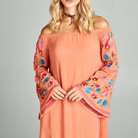 All Over Embroidered Bell Sleeve Dress - Coral