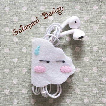 Handmade Felt Cloud Earphone Cord Organizer Felt Cable Keeper Handmade Cable Holder