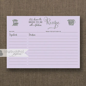 Lilac & Silver Glitter Recipe Card INSTANT DOWNLOAD Purple Sparkly Bride Bridal Shower 3.5x5 DIY Printable or Printed Fill-In Recipe - Mila