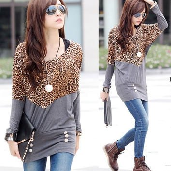 New Fashion Women O-neck Leopard Print Splicing Batwing Sleeve Shirt Blouse Tops F_F (Color: Gray)