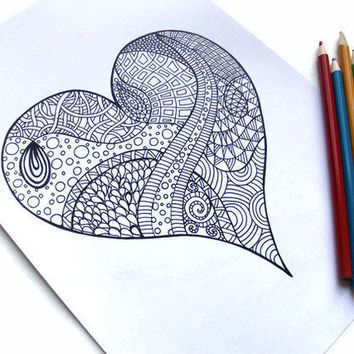 Zentangle Inspired Coloring Page Valentine's Gift Idea by JoArtyJo