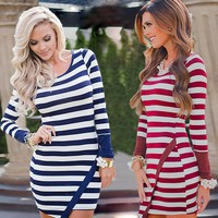 Slim Winter Long Sleeve Irregular Stripes Mini One Piece Dress [39675035674]