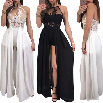 2017 Summer Women Sexy Club Bandage Jumpsuit Halter Backless Perspective Mesh Chiffon Ladies Party Rompers With Skirt Overlay CM