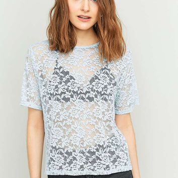Pins & Needles Short Sleeve Lace T-shirt - Urban Outfitters