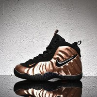 Nike Air Foamposite Pro Black Gold Velcro Toddler Kid Shoes-1