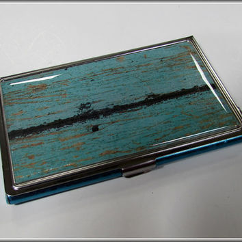 Business Card Holder Case Turquoise Rustic