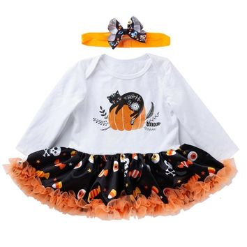 Infantil Funny Rompers Dresses Girls Boys Halloween Costume Kids Baby Pumpkin Jumpsuits Dress 2Pcs Set Newborn Baby Girl Clothes