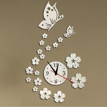2015 new hot acrylic clocks watch wall clock modern design 3d crystal mirror watches home decoration living room free shipping