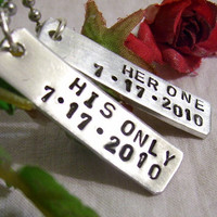 Hand stamped Her one his only matching couples necklaces with special date, fabulous gift for husband, boyfriend, partner, girlfriend, wife