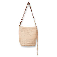 TOMS vachetta patterned perforated leather jetset bucket bag