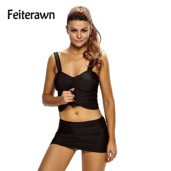Feiterawn Vintage Bathing Suit Black Solid Ruched 2pcs Tankini Skirt Swimsuit Sexy Women Two Piece Plus Size Swimwear DL410023