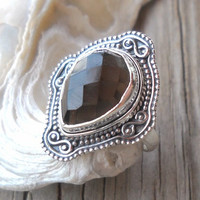 925 Sterling Silver Smoky Topaz Ring Size 6.5