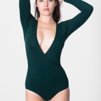 Cotton Spandex Jersey Cross-V Bodysuit | One-Pieces | Women's Dancewear | American Apparel