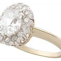 2.17 ct Diamond and 18 ct Yellow Gold Cluster Ring - Antique French Import Circa 1900