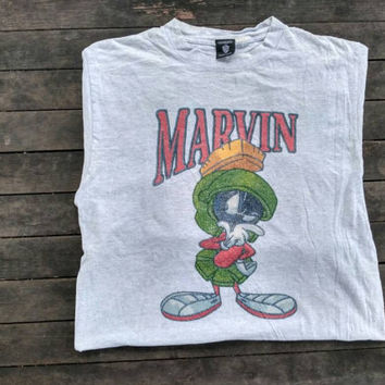 Vintage Marvin The Martial Tshirt warner bros grey colour vintage