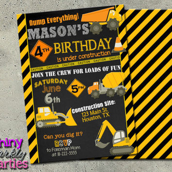 """Construction invitation on chalkboard - """"CONSTRUCTION Birthday INVITATION"""" - DIY printable invitation for construction party - Dump Truck"""