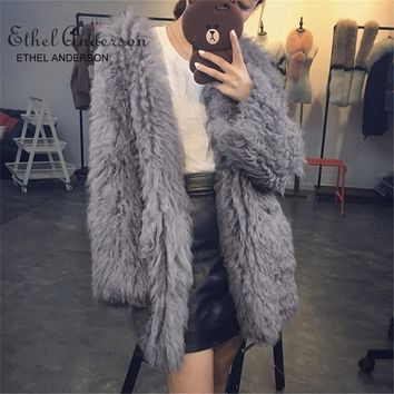 ETHEL ANDERSON Whole Skin Tan Lamb Fur Coats Women's 70CM Mid-Long High Quality Fashion Women Luxurious Lambskin Lamb Fur Parka