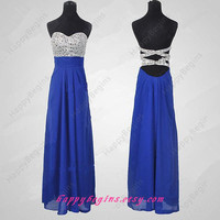 Beaded Long Chiffon Backless Prom Dress 2014/ Homecoming Dress/ Formal Dress