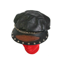 Vintage Harley Davidson Leather Hat - 70s 80s - Biker Leather Cap - Studded and Chain - Newspaper Boy Hat - Leather Harley Davidson Cap