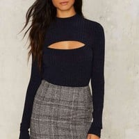 Nasty Gal Bullseye Cutout Sweater - Blue
