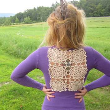 Purple Vintage Crochet Cut Out Back  and by MountainGirlClothing