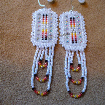 Native American style loom beaded earrings