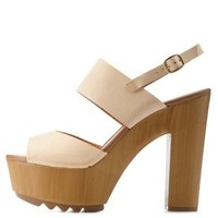 Camel Chunky Wooden Platform Sandals by Charlotte Russe