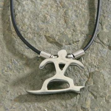 Pewter Petro-Surfer with Rubber Cord Necklace