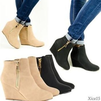 Women's Ankle Boots Wedge Heel Almond Toe Zip Up Booties Taupe or Black Shoes