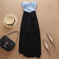 Cool Black Chiffon With Cowboy Dress