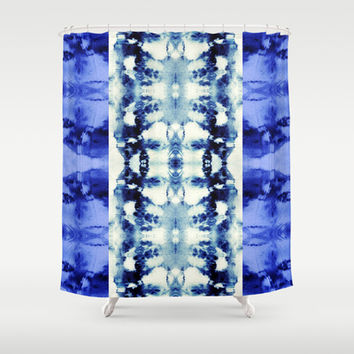 Tie Dye Blues Shower Curtain by Nina May