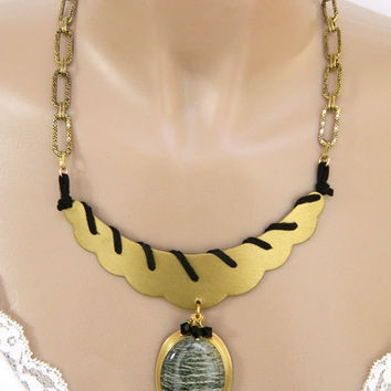 Bold Green Jasper and Gold Pendant Necklace Handcrafted Statement Short Gemstone